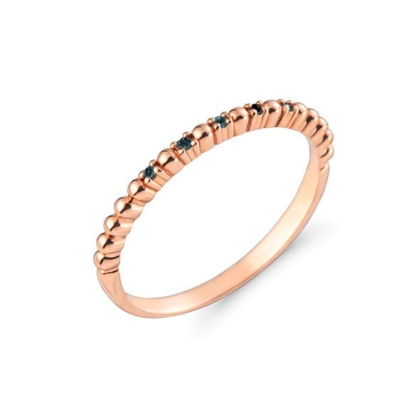 Inel semi eternity aur rose 14 k cu diamante negre