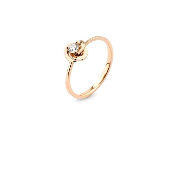 Inel logodna aur  rose 14 k cu diamante