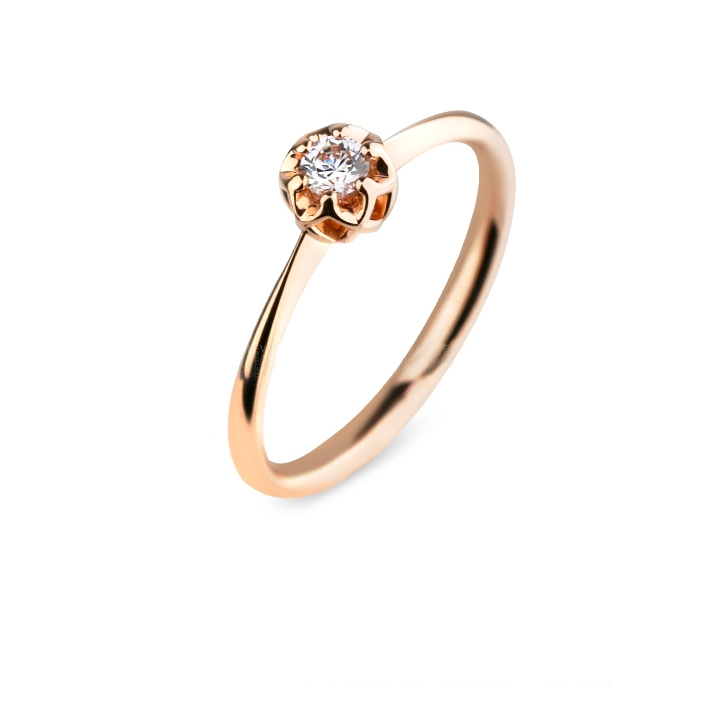 Inel logodna rose 14 k cu diamante