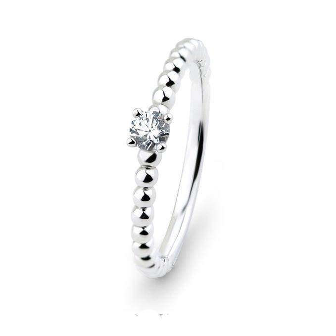 Inel logodna aur  alb14 k cu diamante