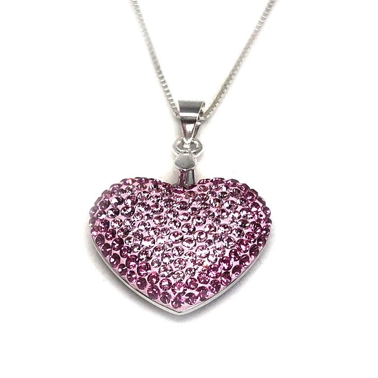 Inima Swarovski Phantasya Pink  Lantisor Argint 925