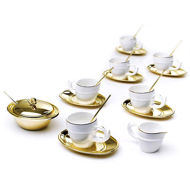 Luxury Gold Coffee Set For Six by Chinelli   Made in Italy