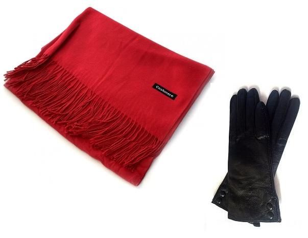 Set cadou Black  Red Esarfa Casmir si Manusi Piele naturala diverse culori